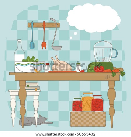 Kitchen table with utensils and ingredients for cooking - stock vector