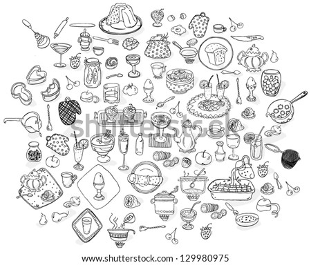 Kitchen tool collection, sketch - hand drawn vector illustration