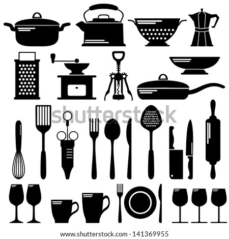 Kitchen tool collection, vector set