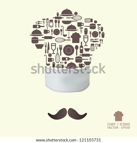 Kitchen tool icons on chef hat concept / can be used for infographics / graphic or website layout vector/Horizontal - stock vector