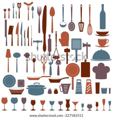 Kitchen tool icons set isolated on white background. Colorful vector objects: dishware, silverware, tableware, stemware. Food and drink design elements.