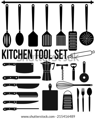 Kitchen tool icons set on white background, vector illustration - stock vector