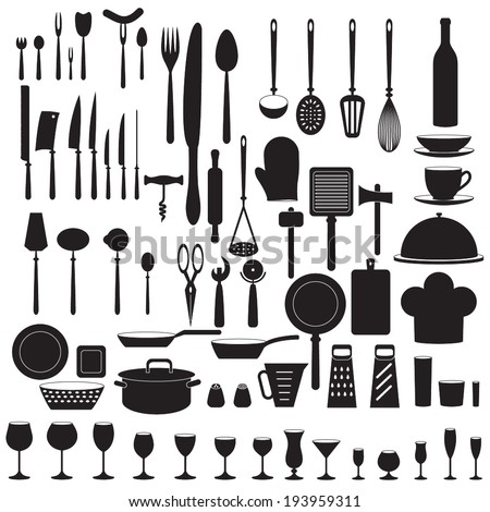 Kitchen tool icons set. Vector.
