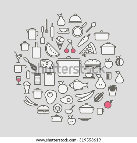 Kitchen tools and meal silhouette icons circle composition. Design elements - stock vector