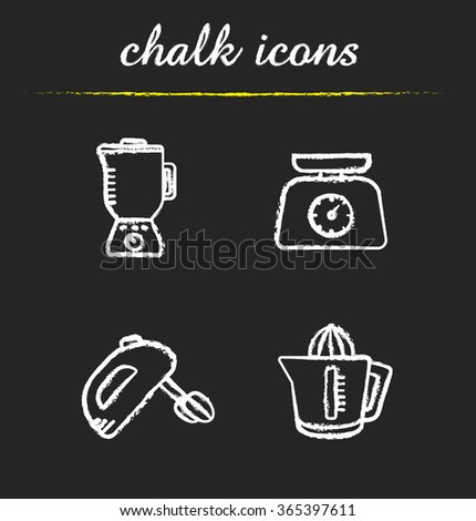 Kitchen tools chalk icons set. Multi speed blender, food scales, hand mixer and juicer symbols. Kitchenware items. White illustrations on blackboard. Vector chalkboard logo concepts - stock vector