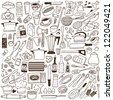 kitchen tools - doodles collection - stock photo
