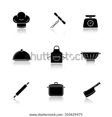 Kitchen tools drop shadow icons set. Kitchenware equipment. Restaurant cooking utensil. Chef hat and butcher cleaver. Apron, colander and corkscrew opener. Logo concepts. Vector black illustrations - stock vector