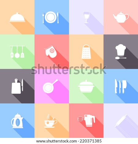 Kitchen tools flat icons with long shadow - stock vector
