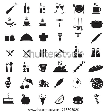 Kitchen tools icon set. Food and drink vector symbols. Elements for restaurant or menu design. - stock vector