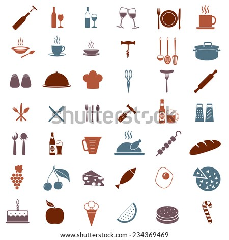 Kitchen tools or equipment icon set. Food, drink and cooking symbols. Elements for restaurant or menu design. Colorful vector illustration isolated on white background. - stock vector