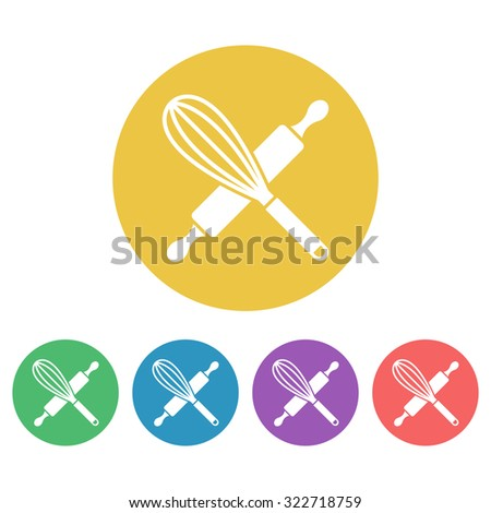Kitchen tools set of vector colored round icons, egg whisk and rolling pin icon - stock vector