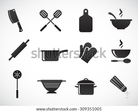 Kitchen tools - vector icon set. - stock vector