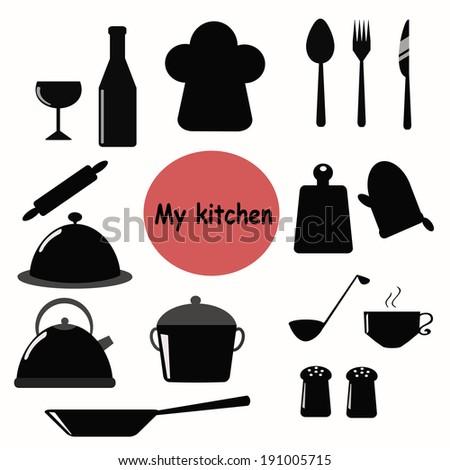 Kitchen tools vector set - stock vector