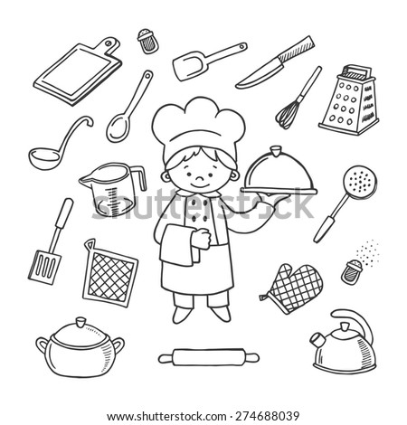 Kitchen tools white and black vector icons set. Profession background - stock vector