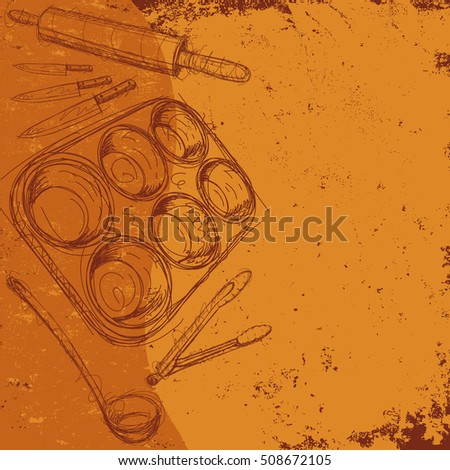 Kitchen Utensils Background kitchen tools background sketchy hand drawn kitchen stock vector