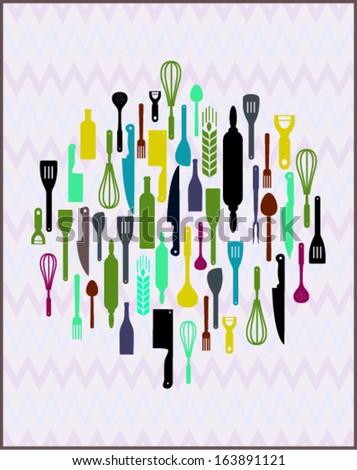 kitchen utensil design. vector illustration  - stock vector