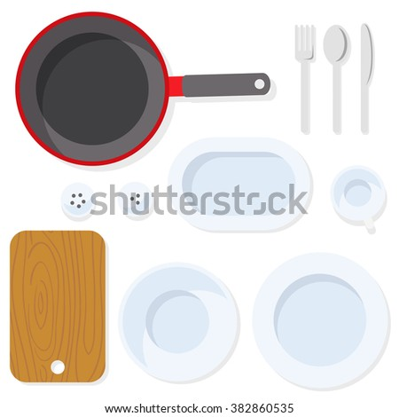 Kitchen utensil. Tableware. Empty plate with knife, spoon, fork, cup, salt, pepper, pan and cutting board. Empty dishes top view illustration. Flat kitchen utensil and tools. - stock vector