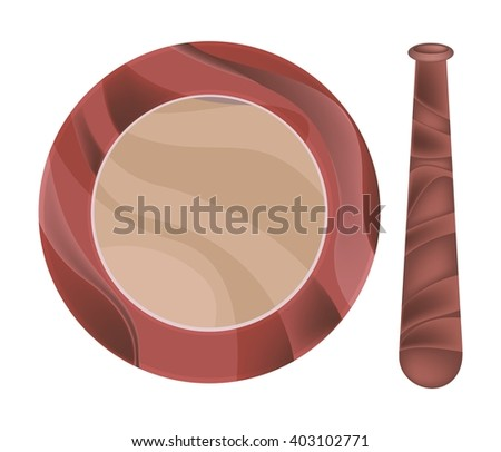 Kitchen Utensil, Wooden Mortar and Pestle Used for Crushing and Grinding. - stock vector