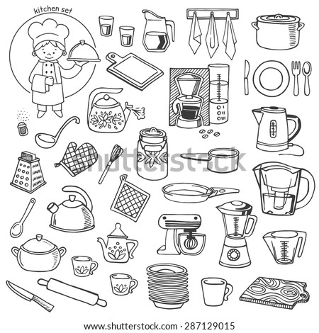 Kitchen utensils and appliance white and black vector icons set. Background Kitchen. - stock vector