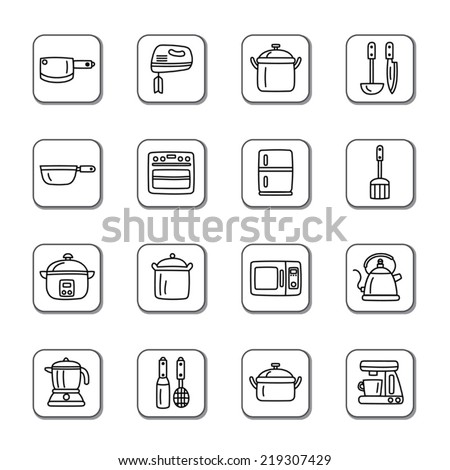 Kitchen Utensils and Appliances Doodle Icons - stock vector