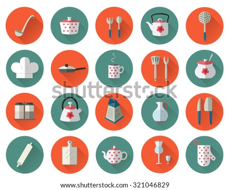 Kitchen utensils and cookware flat icons set, cooking tools, dishes and different kitchenware elements. Flat style vector illustration symbol collection.