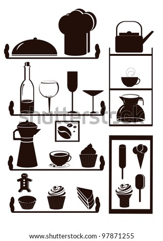 kitchen utensils and dessert on the shelves - stock vector