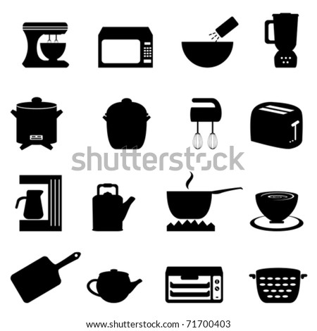 Kitchen utensils and items in black - stock vector