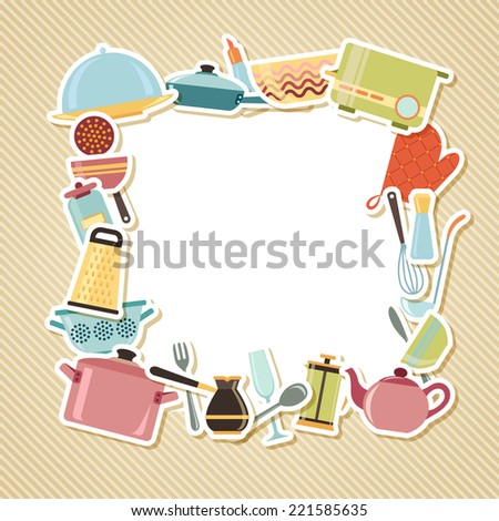 Kitchen utensils, appliances and cookware on striped background with blank place for text - stock vector