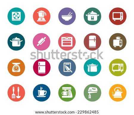 Kitchen Utensils Color Icons - stock vector
