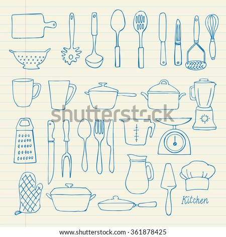 Kitchen utensils doodle vector set - stock vector