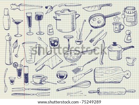 Kitchen Utensils Doodles Vector - stock vector