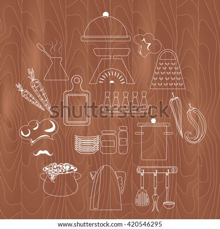 kitchen utensils food icons background tree