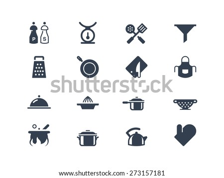 Kitchen utensils icons set - stock vector