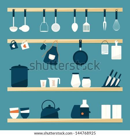 Kitchen utensils icons, vector - stock vector