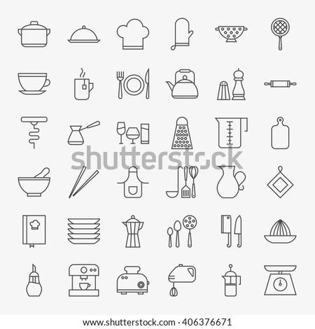 Kitchen Utensils Line Art Design Icons Big Set Vector Set Of Modern Thin Outline Cooking