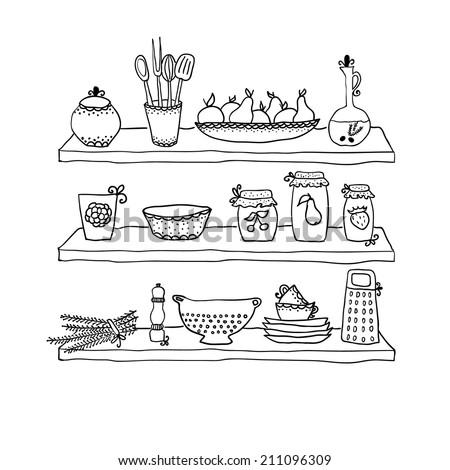 Kitchen utensils on shelves, sketch drawing for your design - stock vector