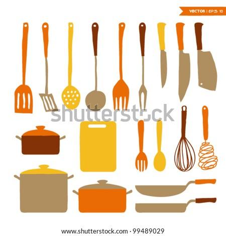 Kitchen utensils silhouette Stock Photos, Kitchen utensils