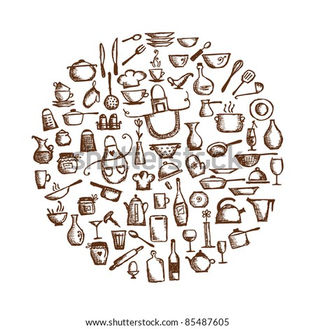 Kitchen utensils, sketch drawing for your design - stock vector