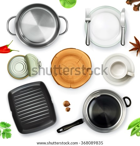 Kitchen utensils, top view vector object - stock vector