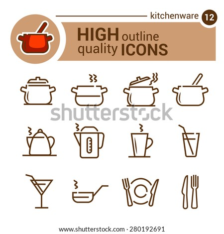 Kitchen utensils vector icons set, line style - stock vector