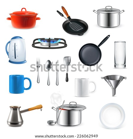 Kitchen utensils, vector set - stock vector