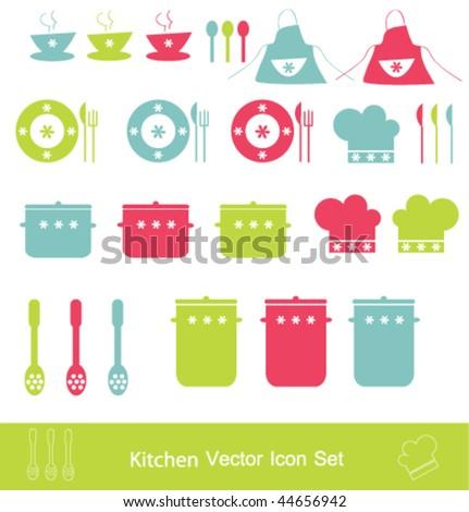 Kitchen vector icon set - stock vector