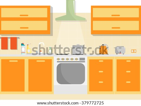 Kitchen vector interior with furniture and household supplies. Flat minimal illustration. - stock vector