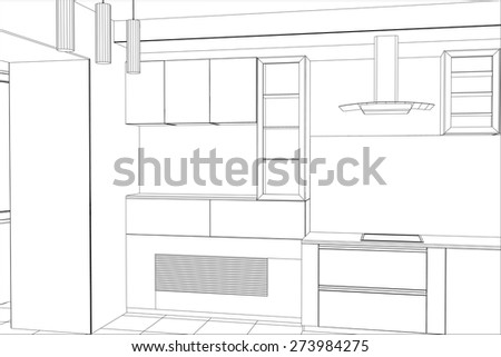 Kitchen vector sketch interior. Illustration created of 3d. - stock vector