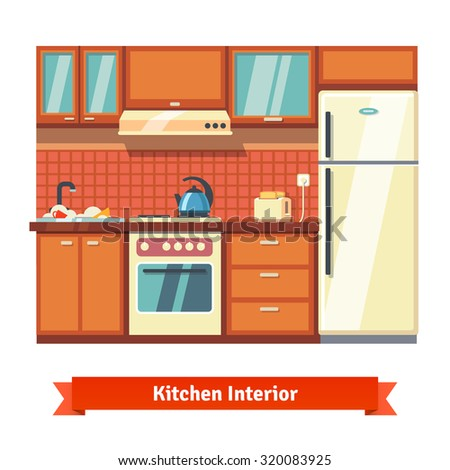 Kitchen Wall Background kitchen wall interior flat style vector stock vector 320083925
