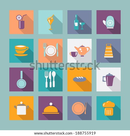 kitchen ware Flat icons Food icons kitchen Utensil with shadow - stock vector