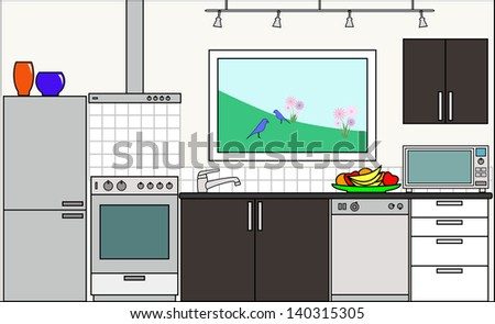 Kitchen with Fittings - this file will fit straight into the large 3-level house vector with blank rooms - please see my portfolio for Large Cutaway House Ready to Decorate - stock vector