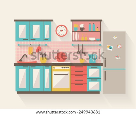 Kitchen with furniture and long shadows. Flat style vector illustration. - stock vector