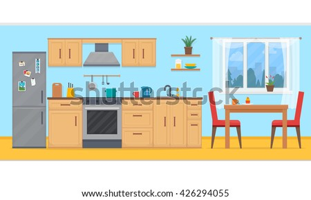 Kitchen with furniture. Cozy kitchen interior with table, stove, cupboard, dishes and fridge. Flat style vector illustration.