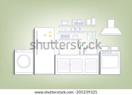 Kitchen with refrigerator, washing machine and equipment - stock vector